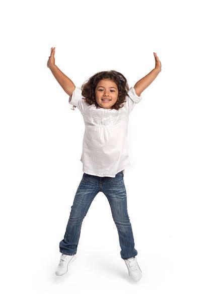 Cute girl jumping - foto de acervo