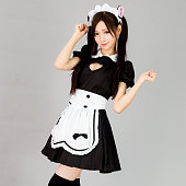 cute girl maid in white background japanese style show breast