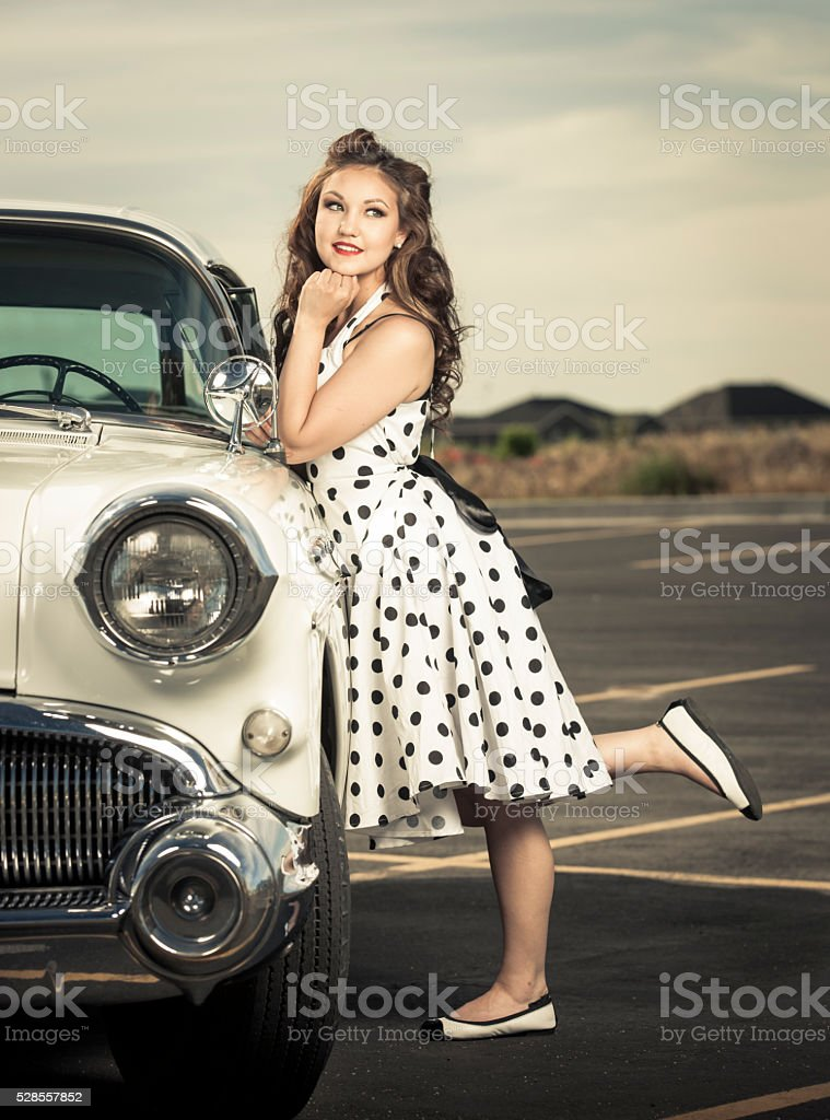 Cute Girl on 50s Road Trip stock photo