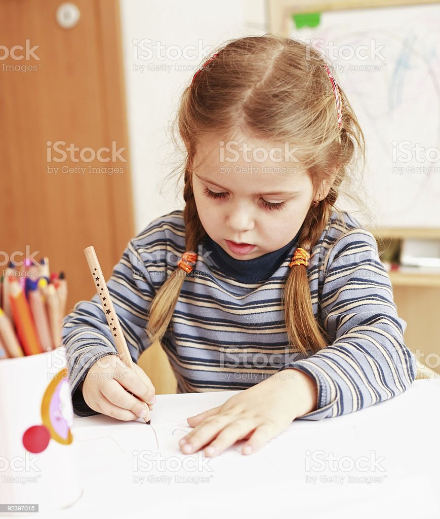 Cute girl painting royalty-free stock photo