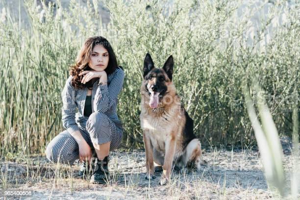 Foto de Linda Garota Brincando Com Seu Cachorro No Contexto Do Campo e mais fotos de stock de Abraçar