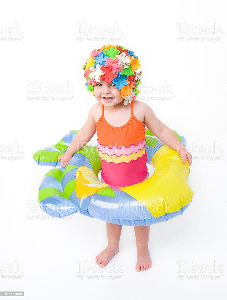 Cute Girl Ready For Swimming royalty-free stock photo