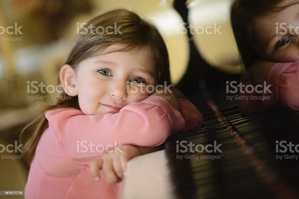 Cute Girl Reflecting on Music stock photo