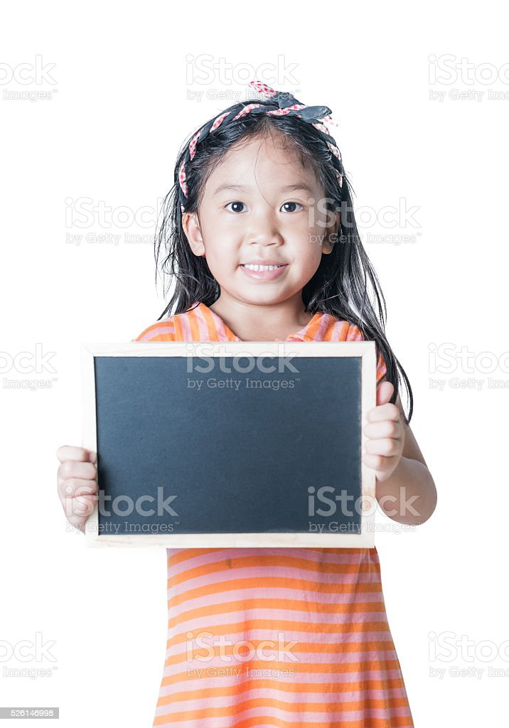 cute girl show black board isolated stock photo