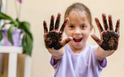 Little cute mischievous girl showing a dirty hands with soil