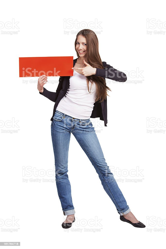 Cute girl shows on plate in hand royalty-free stock photo