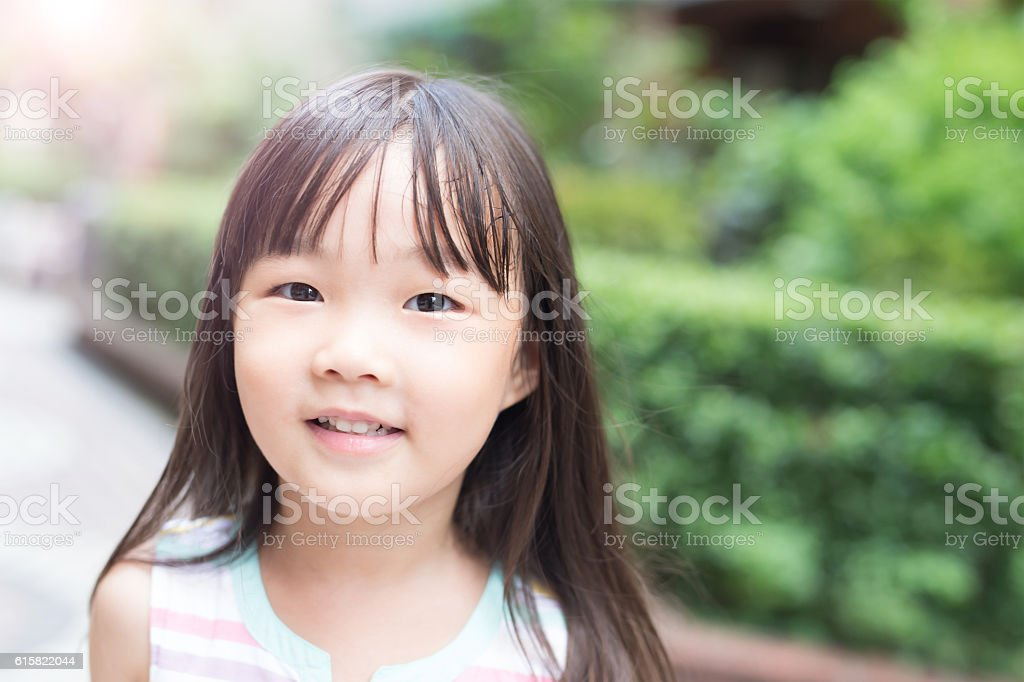 cute girl smile to you stock photo