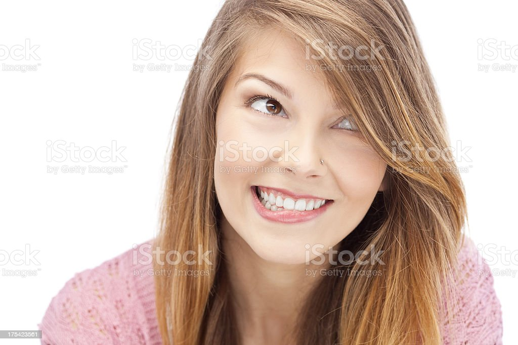 Cute girl smiling stock photo