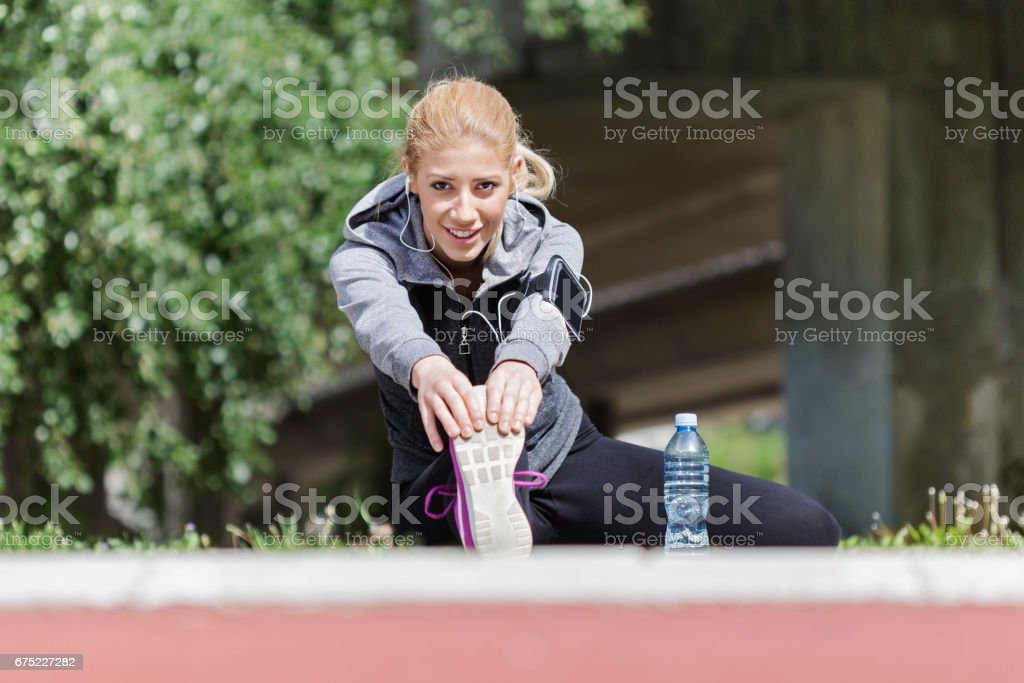 Cute girl stretching royalty-free stock photo