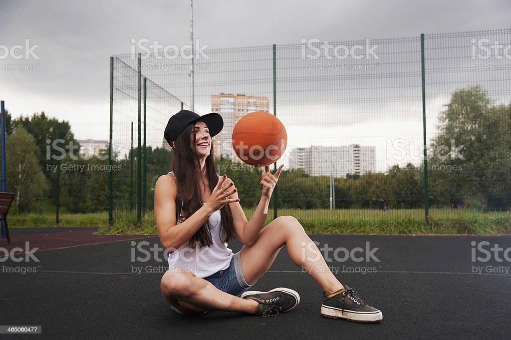 Cute Girl Throw Basketball stock photo