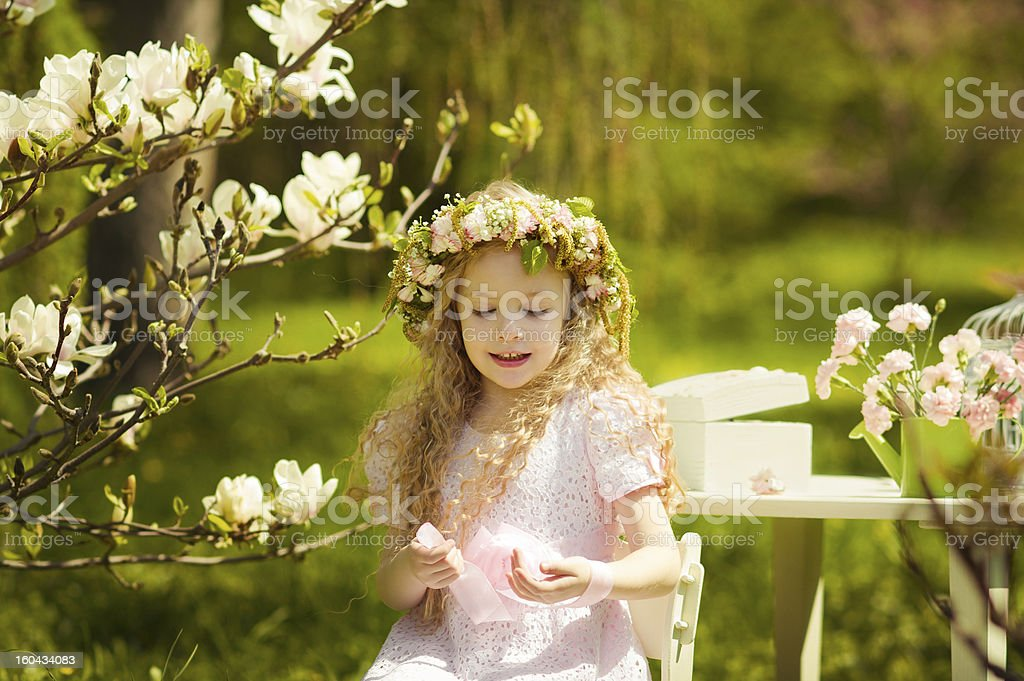Cute girl wearing chaplet royalty-free stock photo