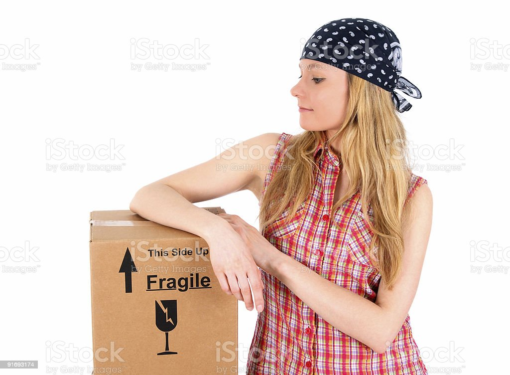 Cute girl with a parcel royalty-free stock photo