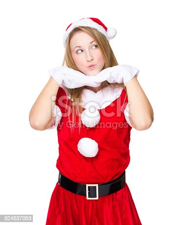 istock Cute girl with Christmas dressing 524537053