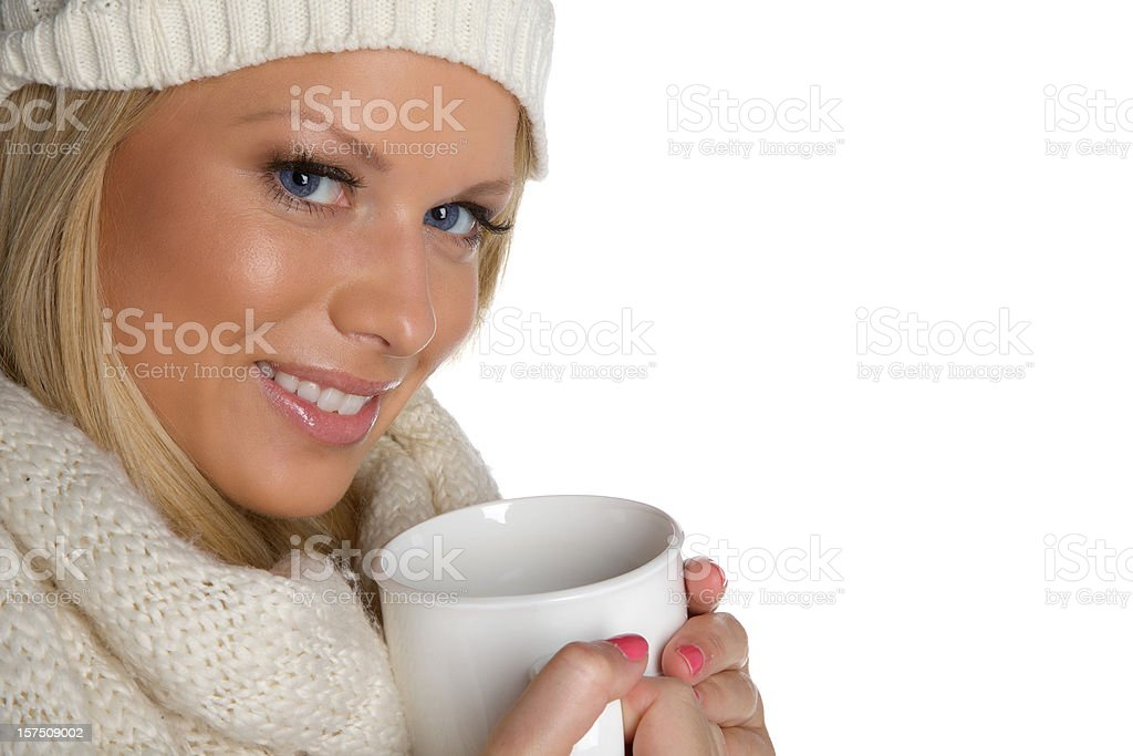 Cute girl with coffee cup royalty-free stock photo
