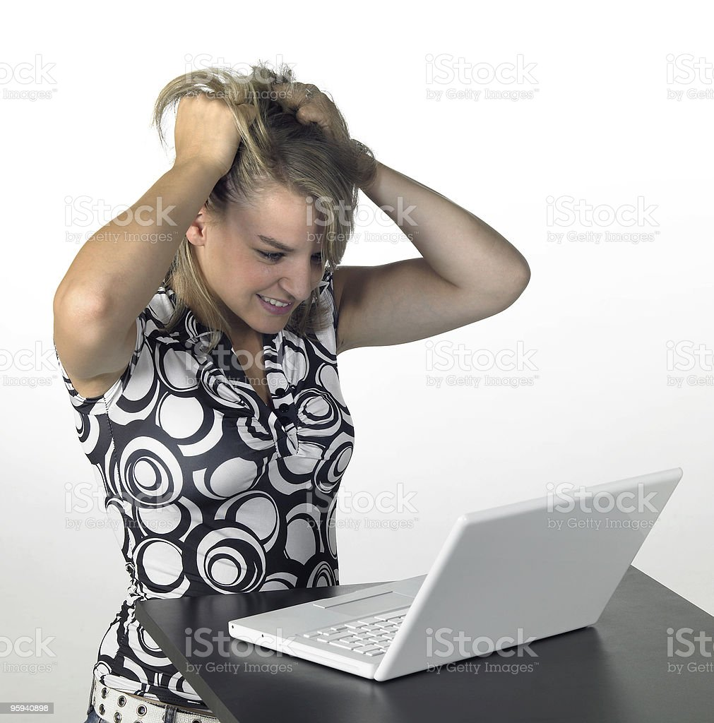 cute girl with computer problems royalty-free stock photo