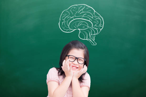 cute girl with green chalkboard cute girl smile happily with brain on green chalkboard cerebellum stock pictures, royalty-free photos & images