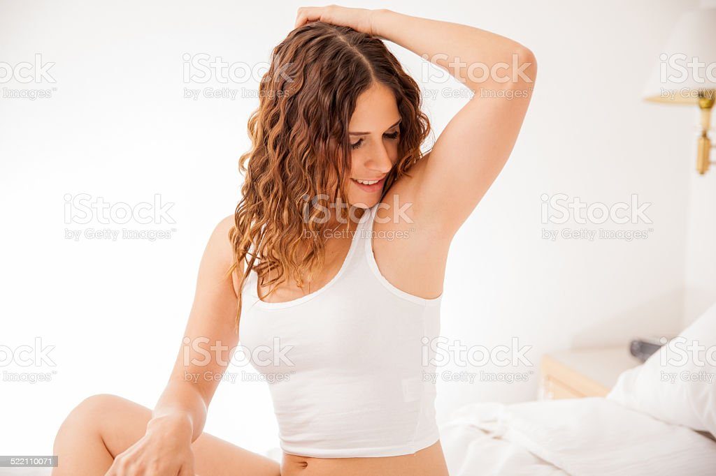 Cute girl with hair free armpits stock photo