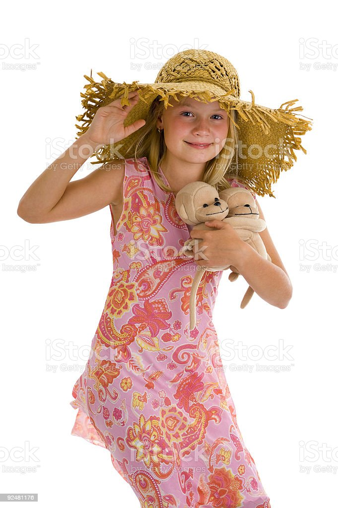 cute girl with her cuddles royalty-free stock photo