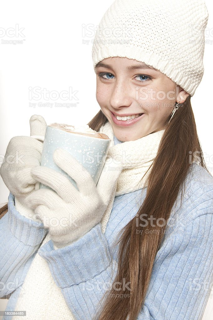 Cute Girl with Hot Cocoa royalty-free stock photo