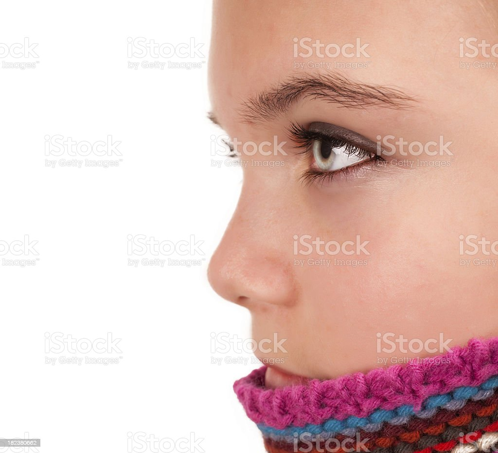Cute girl with knitted colorful pullover royalty-free stock photo