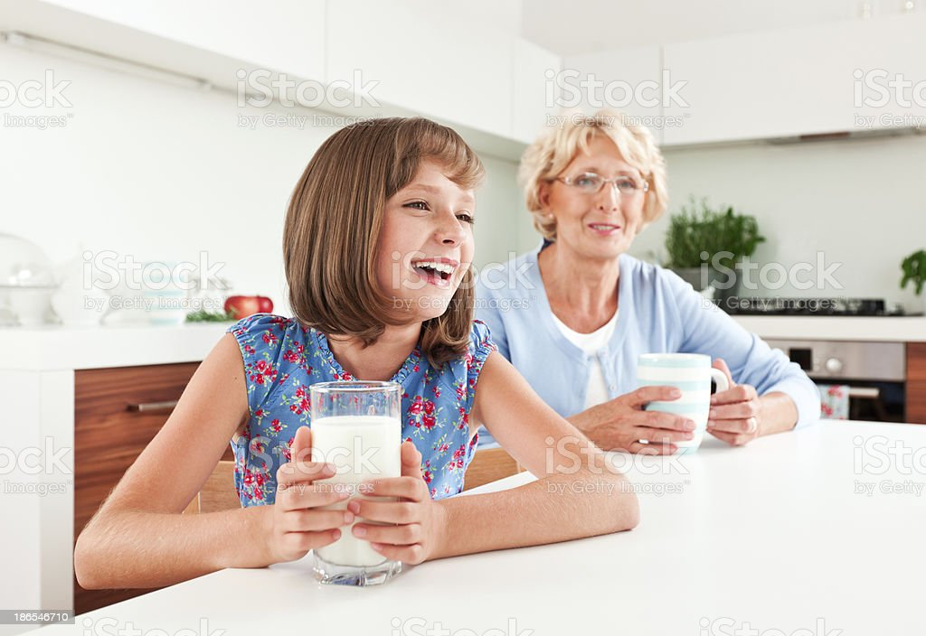 Cute girl with milk royalty-free stock photo