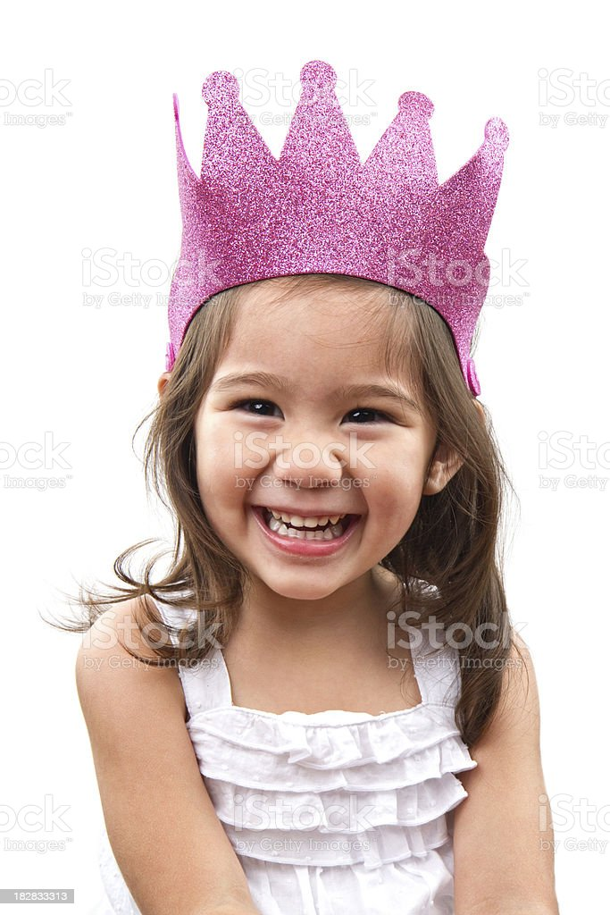 cute girl with princess crown stock photo