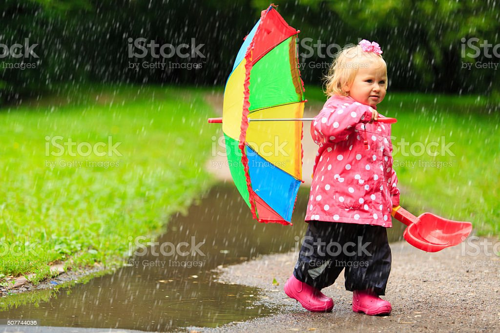 8c6dd83b1 Cute Girl With Umbrella In Raincoat And Boots Outdoor Stock Photo ...