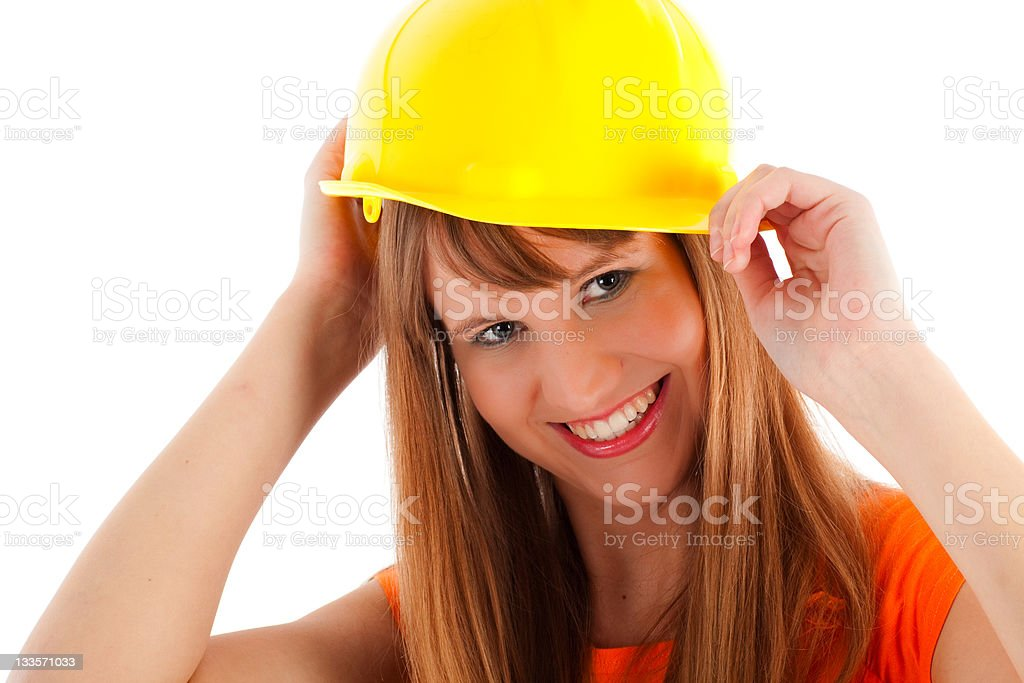 Cute girl with yellow helmet royalty-free stock photo
