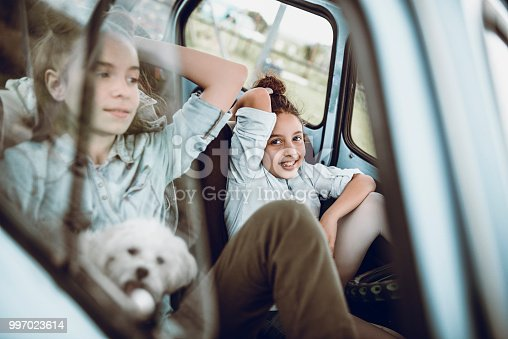 Cute Girls Playing With Pet Puppy In Vintage Convertible Car