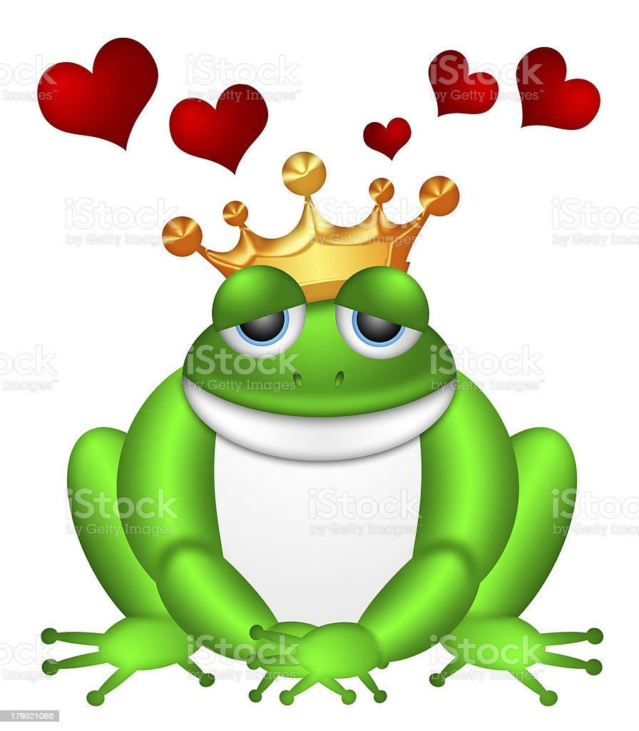 Cute Green Frog with Crown Illustration royalty-free stock photo