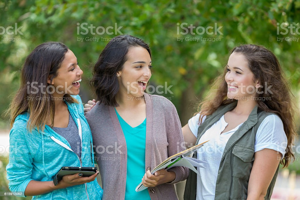 Cute group of college girls hanging out together stock photo