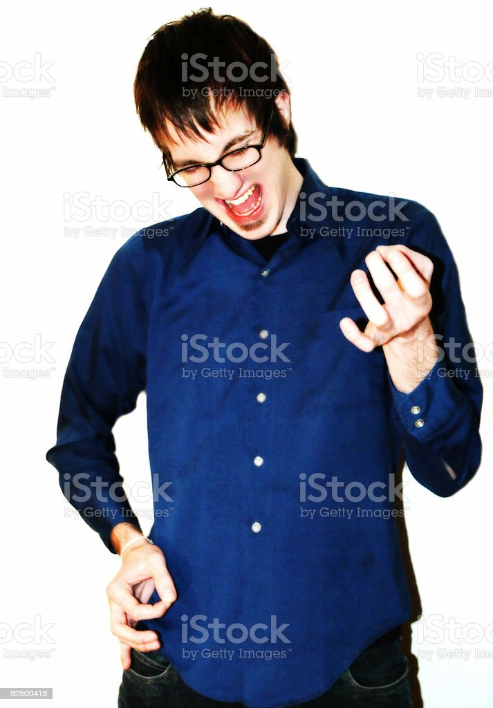 Cute Guy Playing Imaginary Guitar royalty-free stock photo