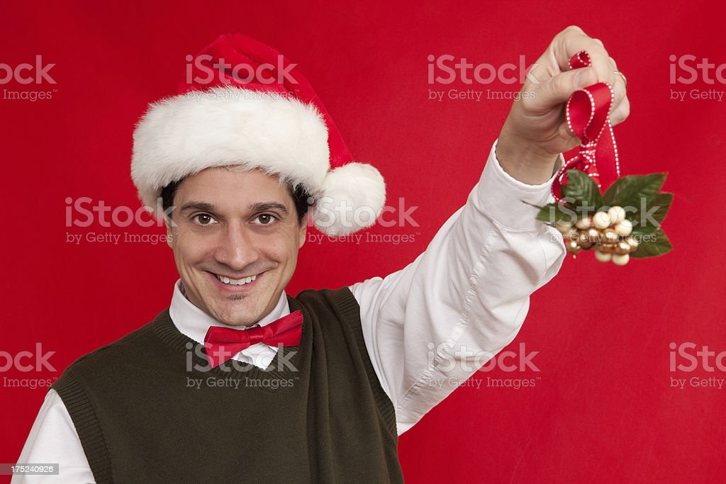 Cute Guy With Mistletoe royalty-free stock photo