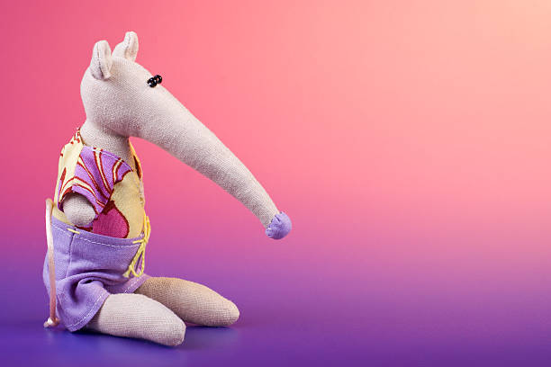 Cute handmade fabric toy stock photo