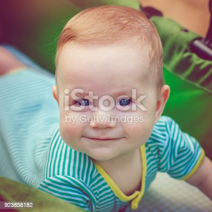 istock Cute happy baby boy in carriage 923858182