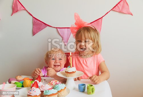 istock cute happy girls at birthday party 857035986