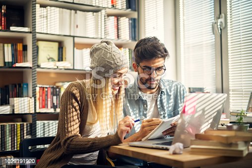 834814926istockphoto Cute hipster modern couple sitting in a library and looking through some studying books. 1029191920