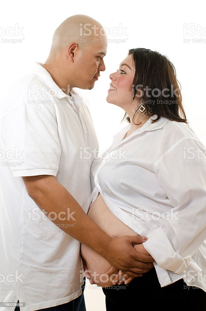 Cute hispanic american pregnant couple royalty-free stock photo