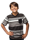 Cute hispanic boy smiling at camera with hands on waist