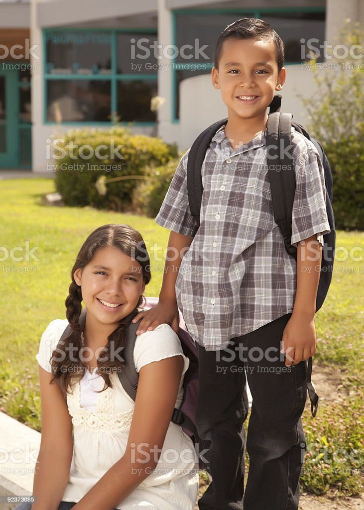 Cute Hispanic Brother and Sister Ready for School royalty-free stock photo