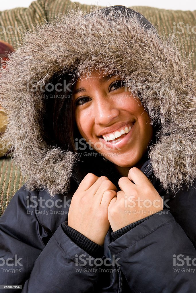 Cute Hispanic Girl-Winter Coat royalty-free stock photo