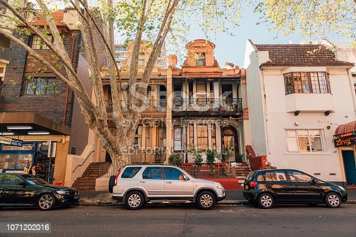 Sydney, Australia - August 30, 2017: Cute homy street of Sydney with small houses and cars parked by the side of the road.