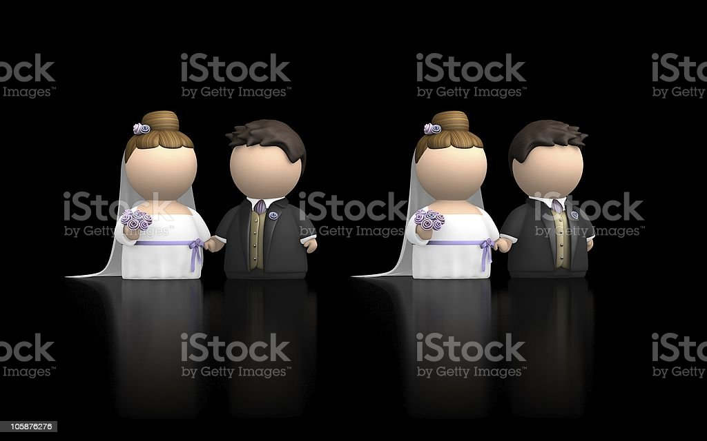 Cute icon couple getting married - two variations on black. stock photo