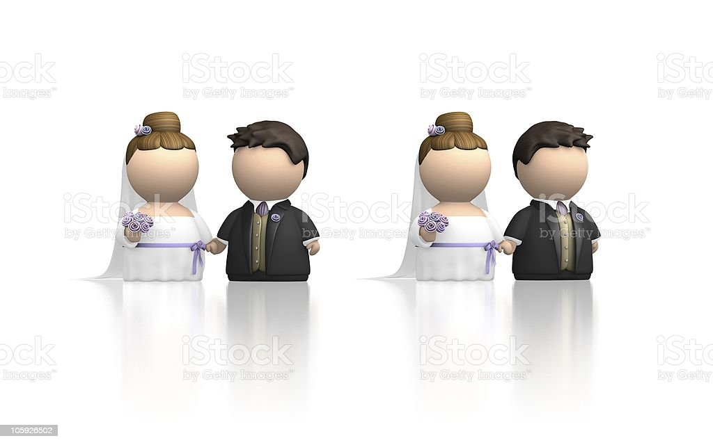Cute icon couple getting married - two variations on white stock photo
