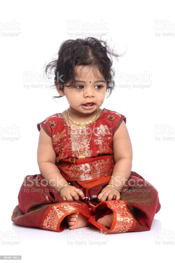 Cute Indian Baby Girl With Traditional Indian Dress Stock Photo ...