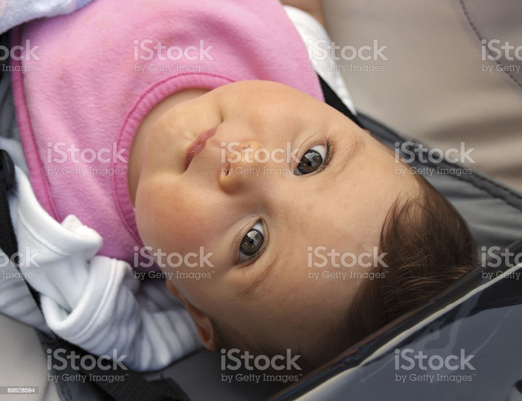 Cute infant girl looking up royalty-free stock photo