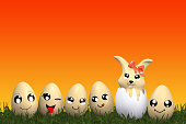 istock cute Kawaii Easter bunny with funny emoticon Easter eggs. 1216236099