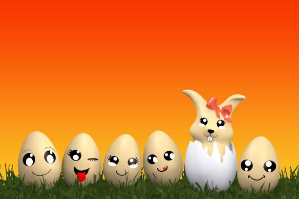 süße Kawaii Osterhase mit lustigen Emoticon Ostereier. – Foto