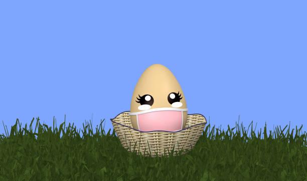 Süße Kawaii Osterei mit Gesichtsmaske und in einem Osterkorb. – Foto