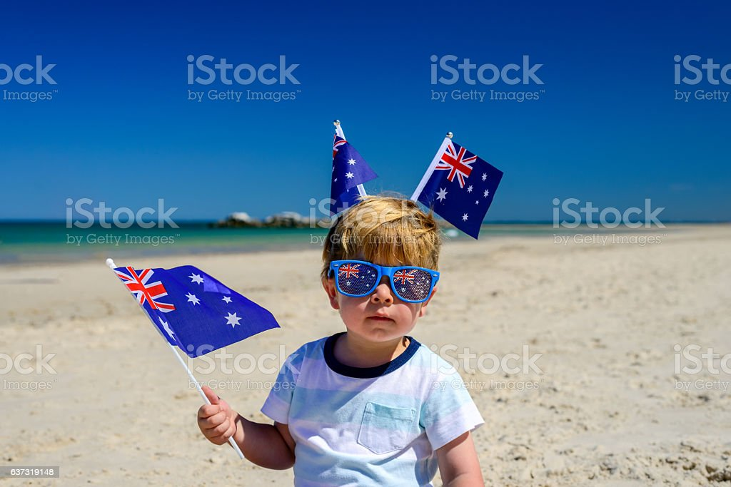 Cute kid on Australia day stock photo